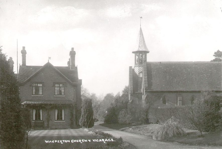 St John the Baptist's church and vicarage, Wasperton.  1910s    IMAGE LOCATION: (Warwickshire County Record Office)