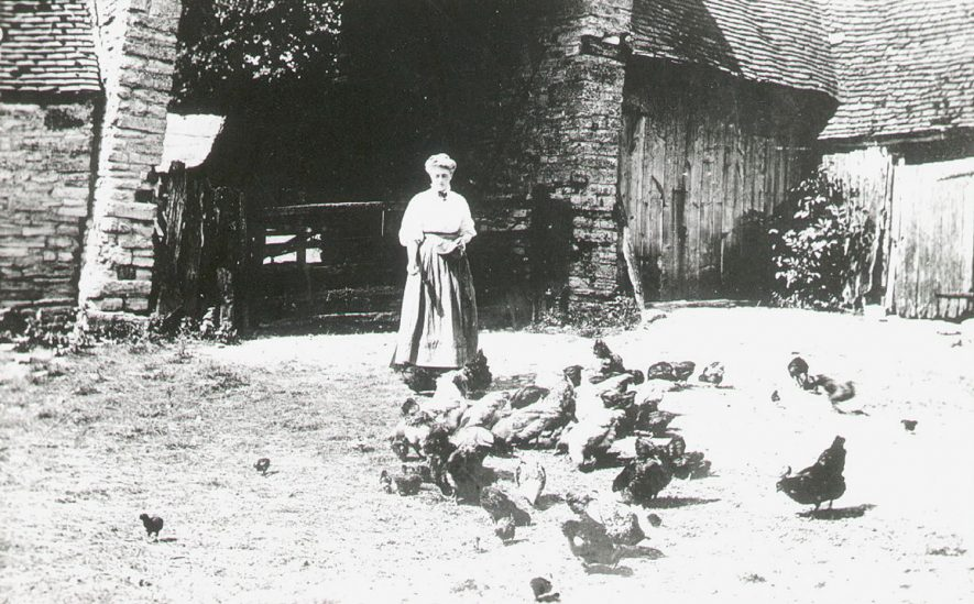 Mary Arden's Farmyard, Wilmcote, showing Miss Cull, housekeeper to Sammy Lane.  1910s |  IMAGE LOCATION: (Warwickshire County Record Office) PEOPLE IN PHOTO: Cull, Miss, Cull as a surname