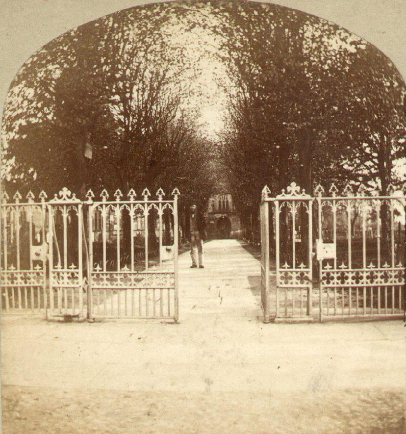 Gateway into Holy Trinity churchyard, Stratford upon Avon.  1870 |  IMAGE LOCATION: (Warwickshire County Record Office)