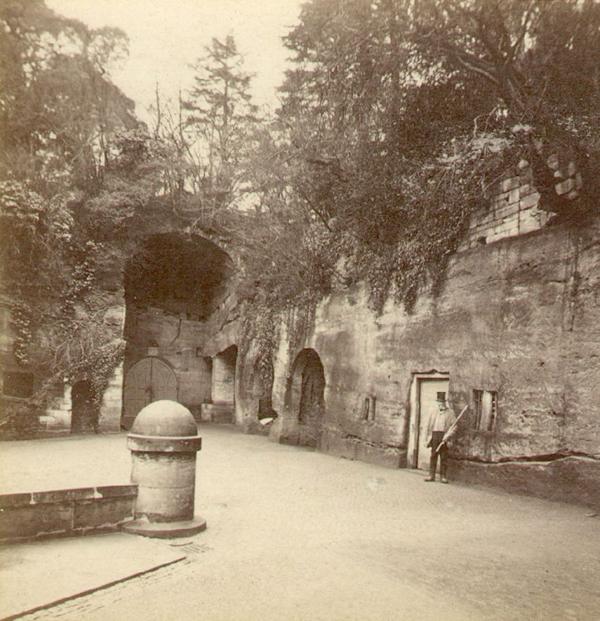 The Courtyard, Guys Cliff, Warwick.  1870 |  IMAGE LOCATION: (Warwickshire County Record Office)