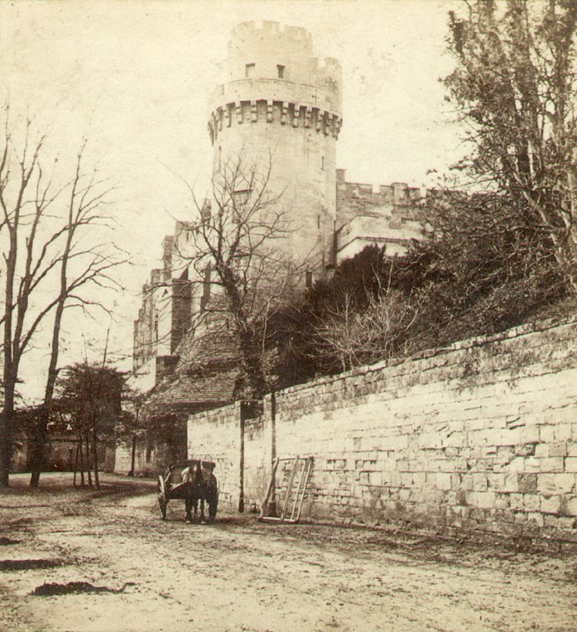 Caesar's tower as seen from Mill Street, Warwick Castle.  1860s |  IMAGE LOCATION: (Warwickshire County Record Office)