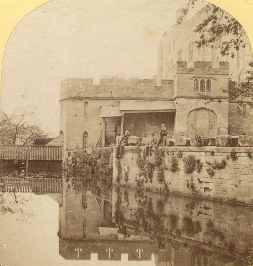 The old water mill, Warwick Castle.  1860s |  IMAGE LOCATION: (Warwickshire County Record Office)