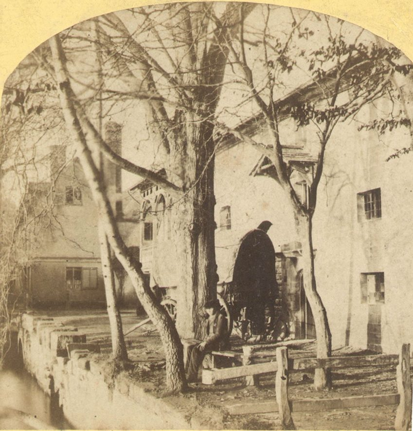 The old mill at Guys Cliff, Warwick.  1860s |  IMAGE LOCATION: (Warwickshire County Record Office)