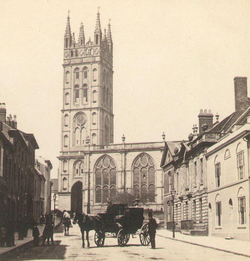 St Mary's Church and Church Street, Warwick.  1890s |  IMAGE LOCATION: (Warwickshire County Record Office)