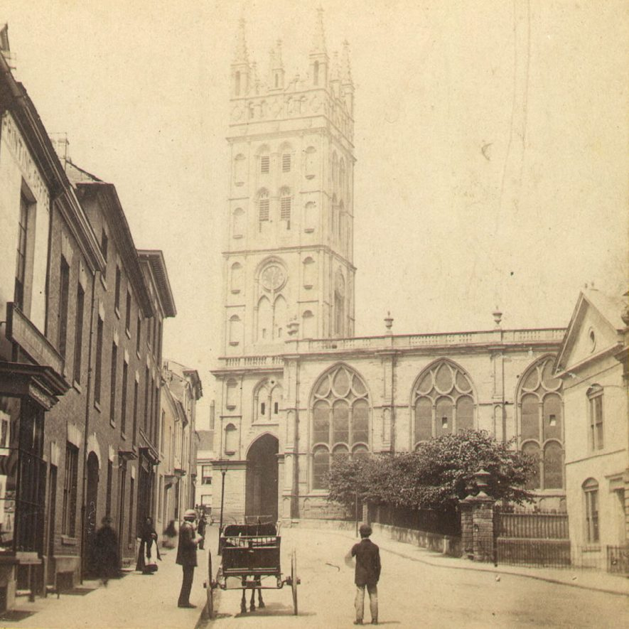 St Mary's church and Church Street, Warwick.  1880s |  IMAGE LOCATION: (Warwickshire County Record Office)