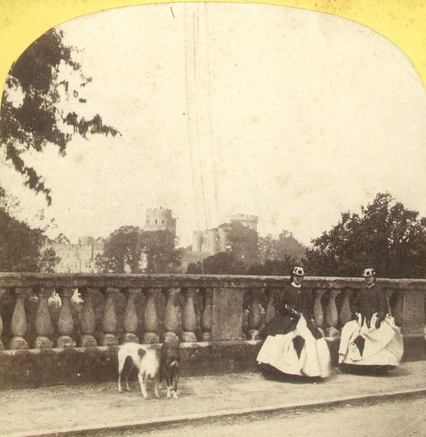 Warwick Castle and Bridge parapet. Banbury road, Warwick.  1850s |  IMAGE LOCATION: (Warwickshire County Record Office)