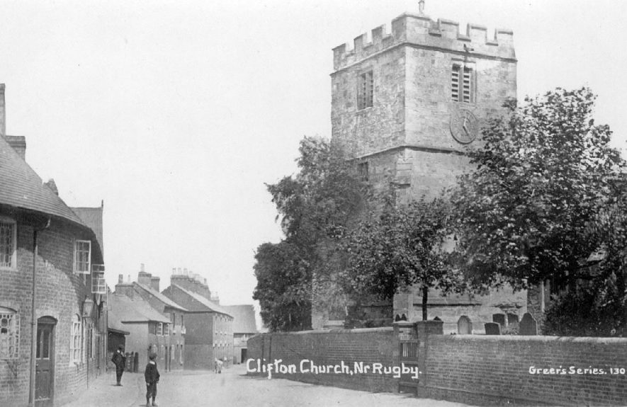 Clifton upon Dunsmore Parish church, part of churchyard, and Church Street  cottages.  1900s |  IMAGE LOCATION: (Warwickshire County Record Office)