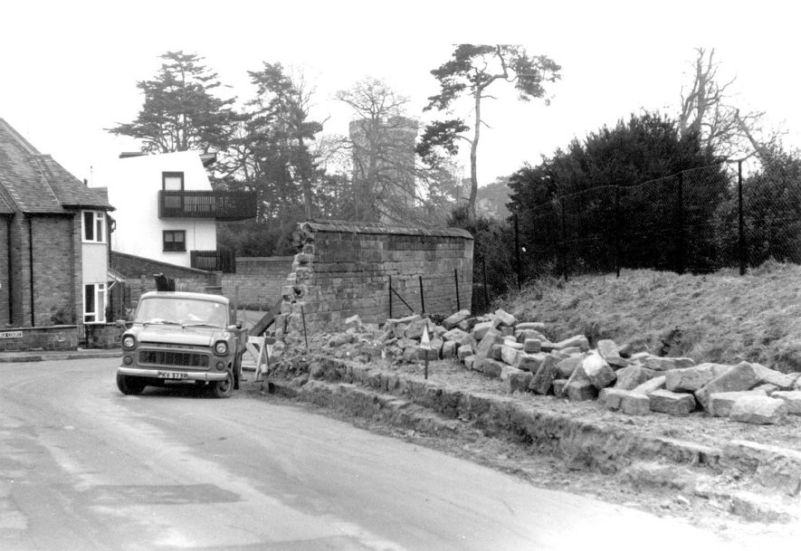 Castle wall collapse in Castle Lane, Warwick.  Photographed three days after event on January 3rd 1980. |  IMAGE LOCATION: (Warwickshire County Record Office)