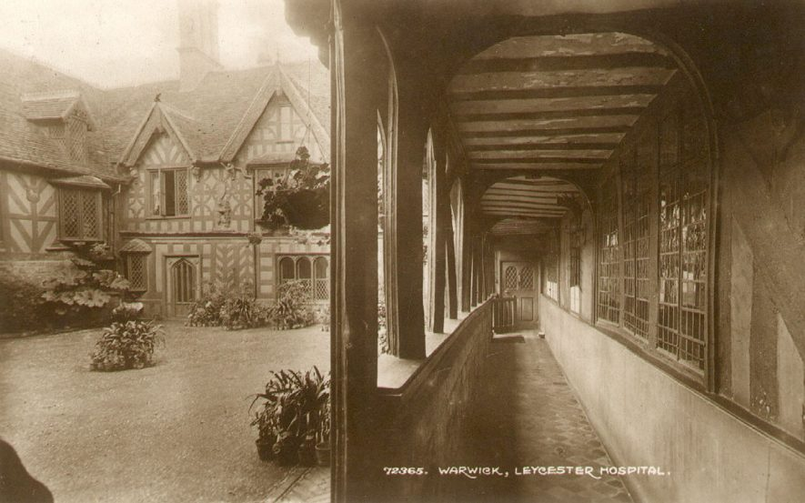Lord Leycester Hospital, gallery at side of courtyard, Warwick.  1920s |  IMAGE LOCATION: (Warwickshire County Record Office)