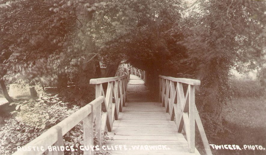 Rustic bridge at Guy's Cliffe, Warwick.  1920s |  IMAGE LOCATION: (Warwickshire County Record Office)