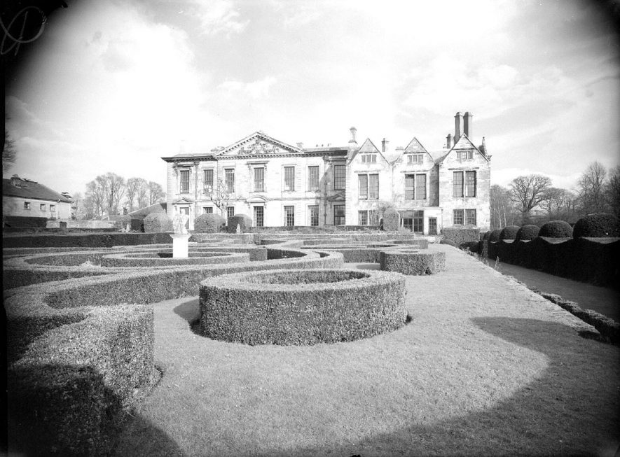 Rear of house and gardens at Coombe Abbey.  February 25th 1957    IMAGE LOCATION: (Warwickshire County Record Office)