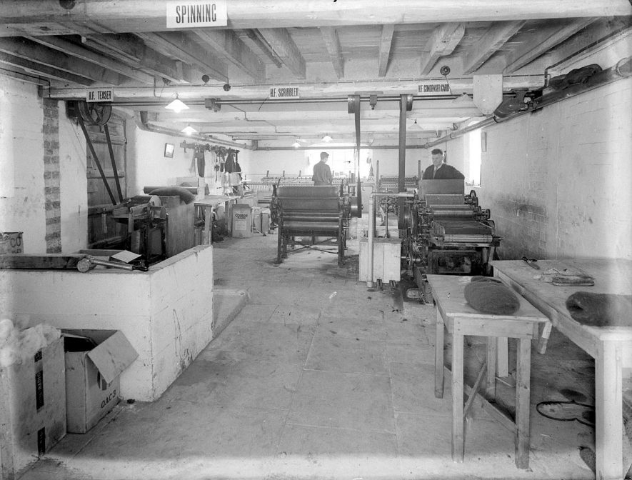 View of general machinery and workers at Clifford Chambers Mill.  May 6th 1939 |  IMAGE LOCATION: (Warwickshire County Record Office)