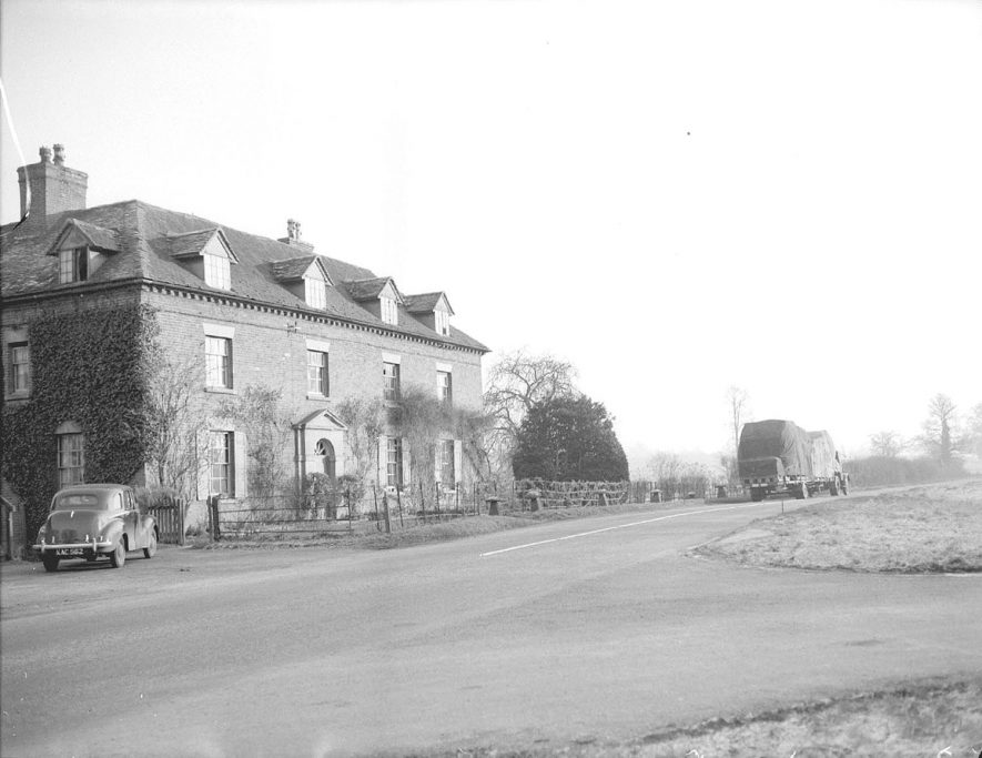 Front exterior of Harwood's House, near Chesterton.  January 12th 1955 |  IMAGE LOCATION: (Warwickshire County Record Office)