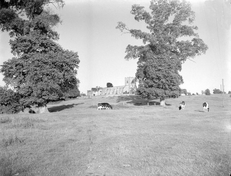 St Giles church, seen across the fields at Chesterton.  July 21st 1956 |  IMAGE LOCATION: (Warwickshire County Record Office)