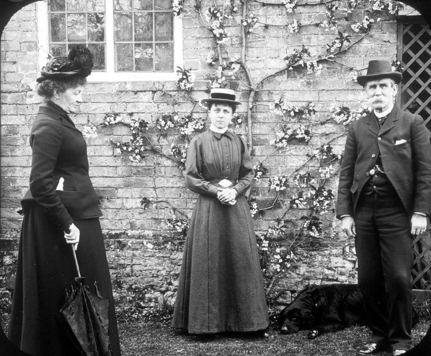 Colonel and Mrs Studdy and another lady at manor house, Clifford Chambers.  1901 |  IMAGE LOCATION: (Warwickshire County Record Office) PEOPLE IN PHOTO: Studdy, Mrs, Studdy, Col, Studdy as a surname
