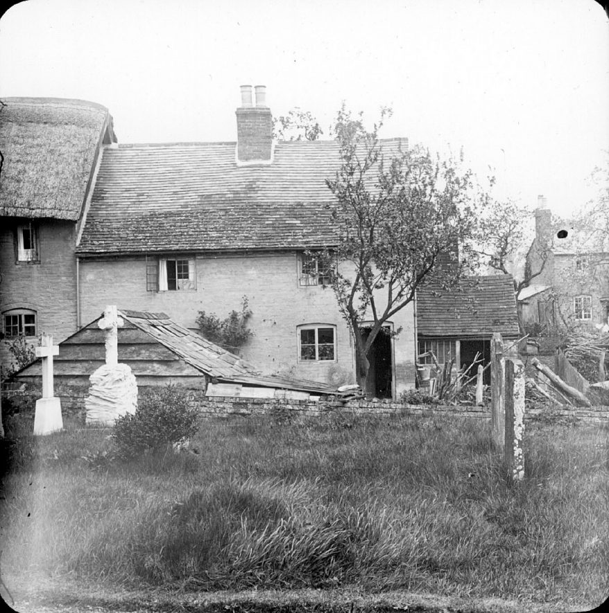 Old cottages from corner of churchyard, Clifford Chambers.  1901 |  IMAGE LOCATION: (Warwickshire County Record Office)