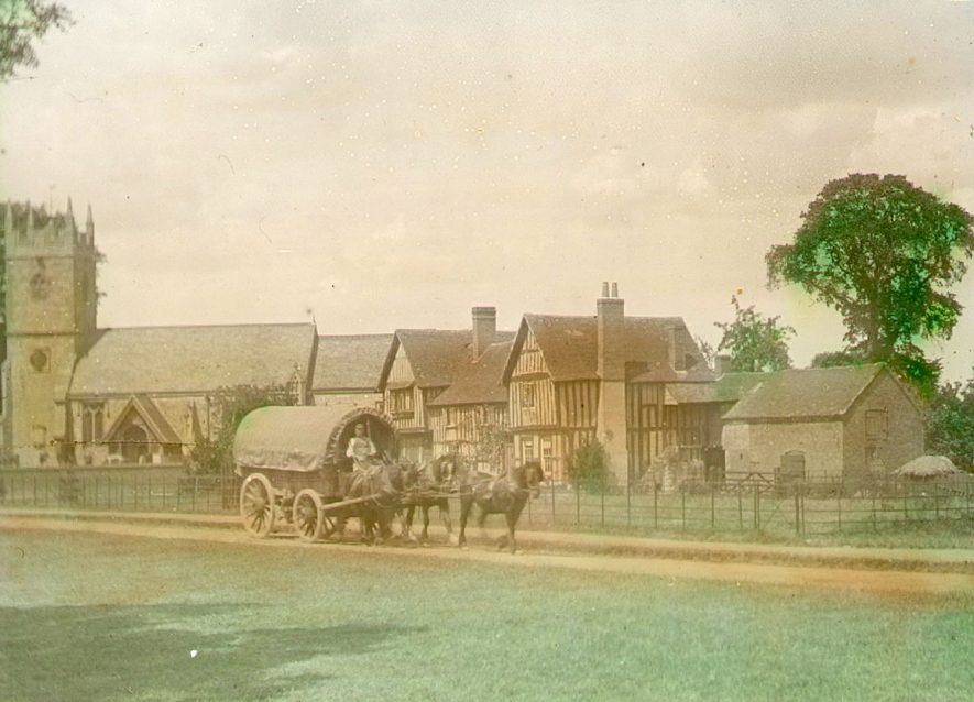 Clifford Chambers church, rectory and wagon with horses.  1895 |  IMAGE LOCATION: (Warwickshire County Record Office)