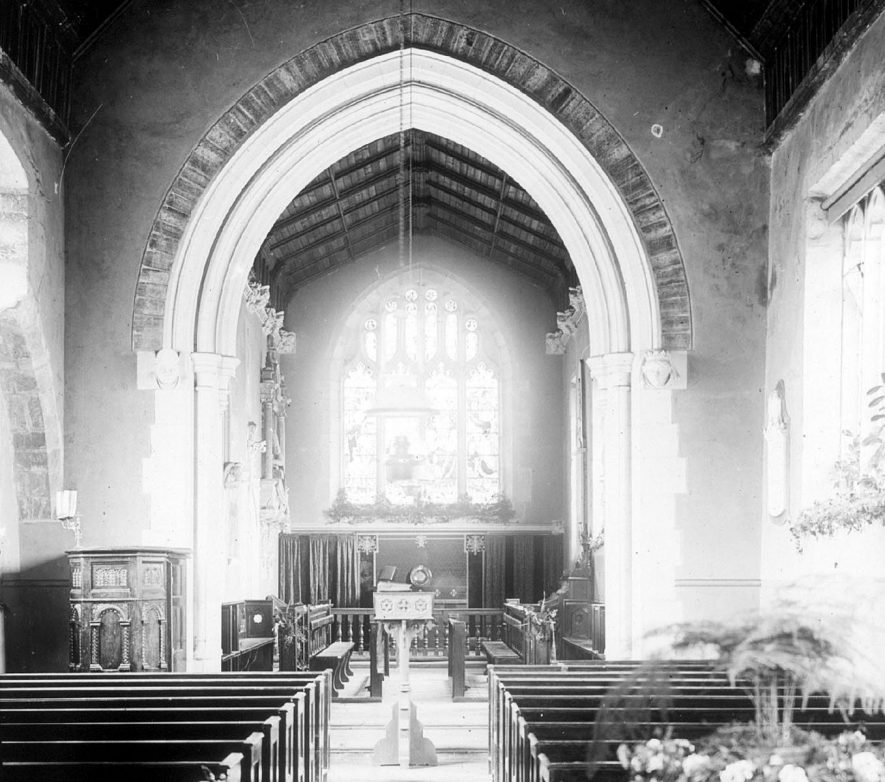 Clifford Chambers church interior at Easter.  1901 |  IMAGE LOCATION: (Warwickshire County Record Office)