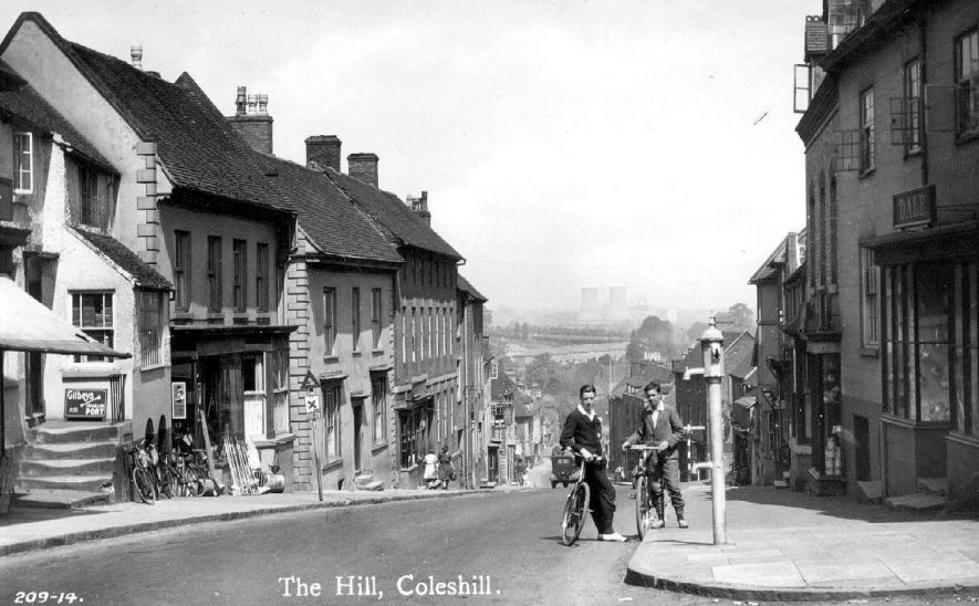 The Hill, Coleshill, showing cooling towers in the distance.  1920s |  IMAGE LOCATION: (Warwickshire County Record Office)
