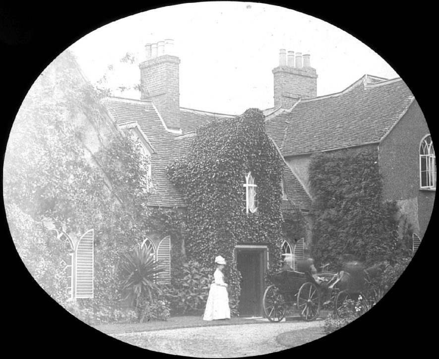 Clifford Chambers.  Maulden Vicarage.  Lady by front door.  Horse-drawn vehicle in drive.  1888 |  IMAGE LOCATION: (Warwickshire County Record Office) IMAGE DATE: (188)