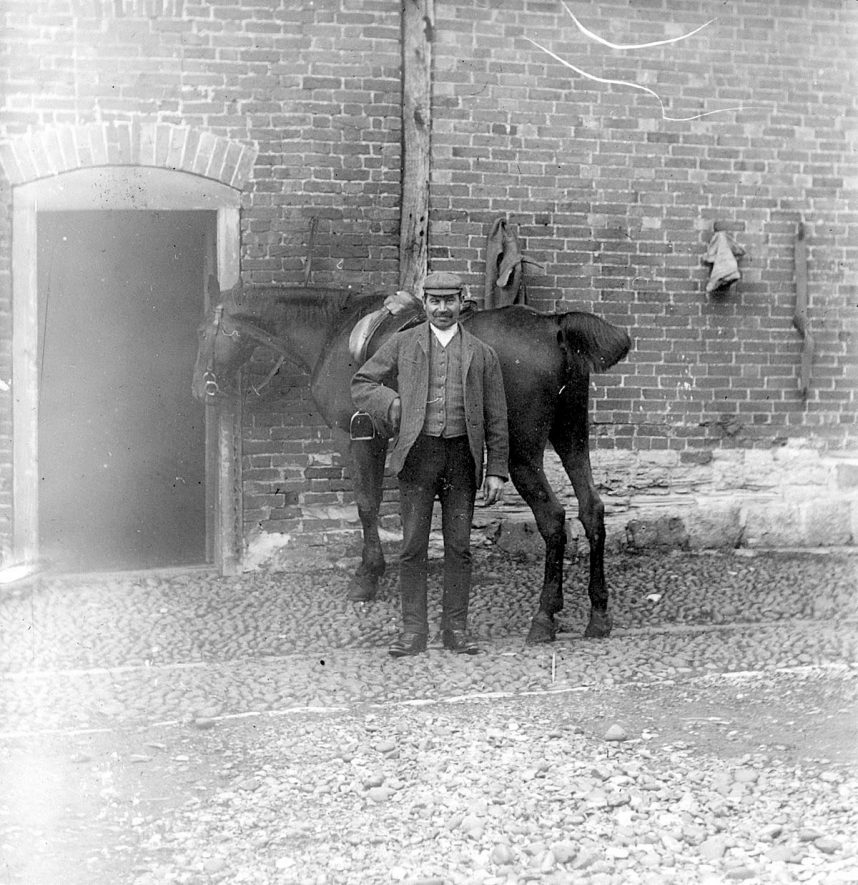 Seth Smith, blacksmith, with a horse. Clifford Chambers.  1900s |  IMAGE LOCATION: (Warwickshire County Record Office) PEOPLE IN PHOTO: Smith, Seth, Smith as a surname