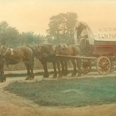 Clifford Chambers.  Waggon and horses from Clifford Mill
