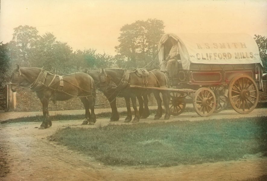 Waggon and horses belonging to R.S. Smith of Clifford Mills, Clifford Chambers.  1900s |  IMAGE LOCATION: (Warwickshire County Record Office)