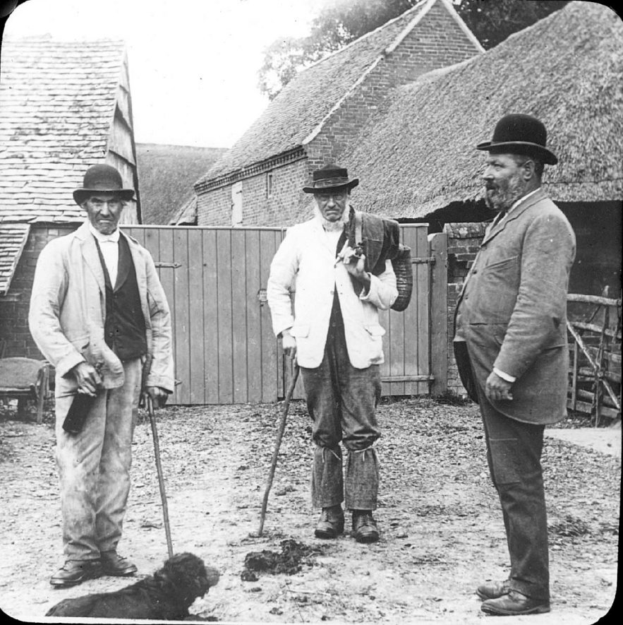 Mr Crossley, Mr Woodward and Mr Hancocks in a farmyard in Clifford Chambers.  1900s    IMAGE LOCATION: (Warwickshire County Record Office) PEOPLE IN PHOTO: Woodward, Mr, Woodward as a surname, Hancocks, Mr, Crossley, Mr, Crossley as a surname