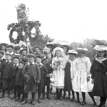 Clifford Chambers.  Village children dressed for May Day