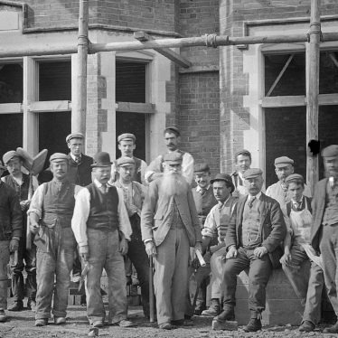 Clifford Chambers.  Building workers at Red Hill House