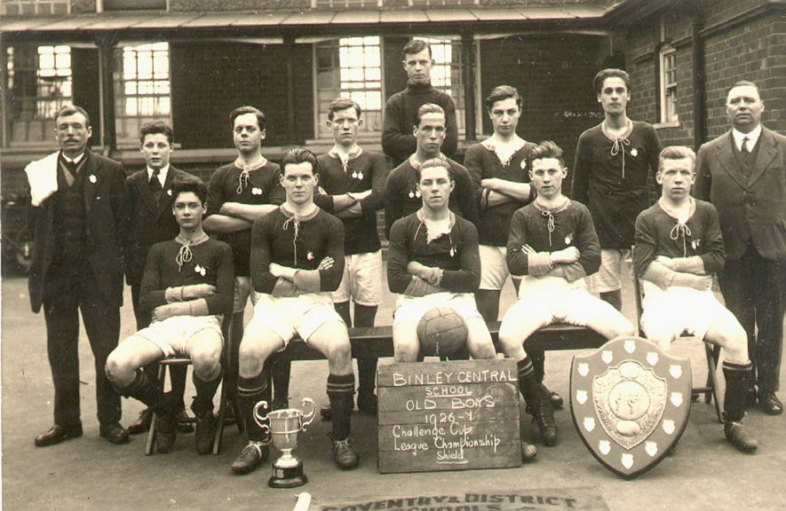 Binley Central School old boy's football team with shield and cup.  1926/7 |  IMAGE LOCATION: (Warwickshire County Record Office)