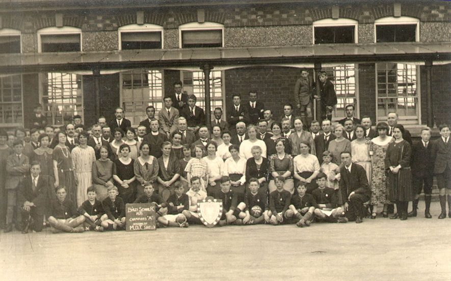 Members and staff of Binley school football club.  1925 |  IMAGE LOCATION: (Warwickshire County Record Office)