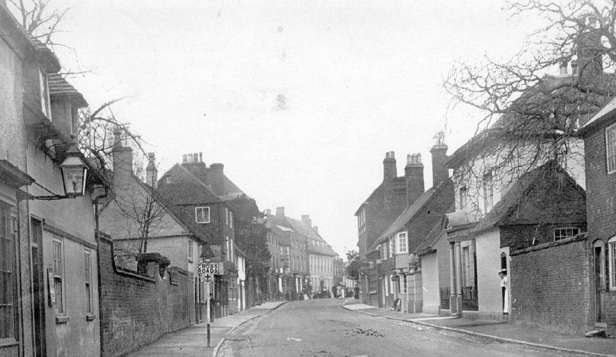 General view of the High Street, with cottages.  1920s |  IMAGE LOCATION: (Warwickshire County Record Office)