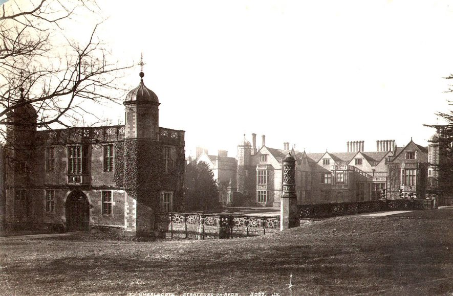 Charlecote Park house and gatehouse from the north-east.  1900s |  IMAGE LOCATION: (Warwickshire County Record Office)