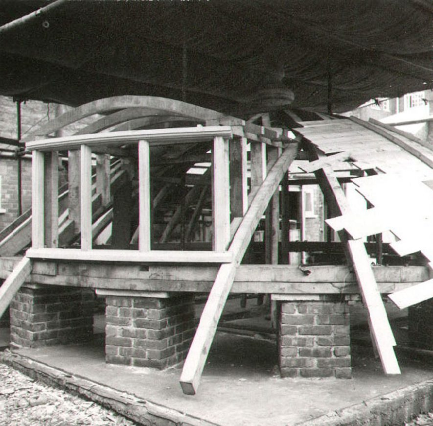 The roof of Chesterton wind mill undergoing repairs in the old police station yard, Warwick.  1966 |  IMAGE LOCATION: (Warwickshire County Record Office)