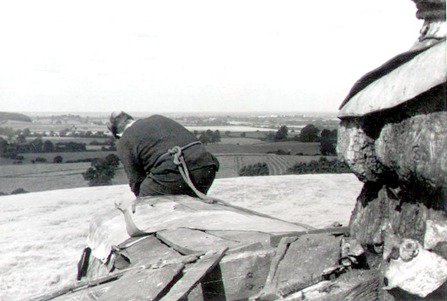 Man working on the roof of Chesterton windmill.  1966 |  IMAGE LOCATION: (Warwickshire County Record Office)