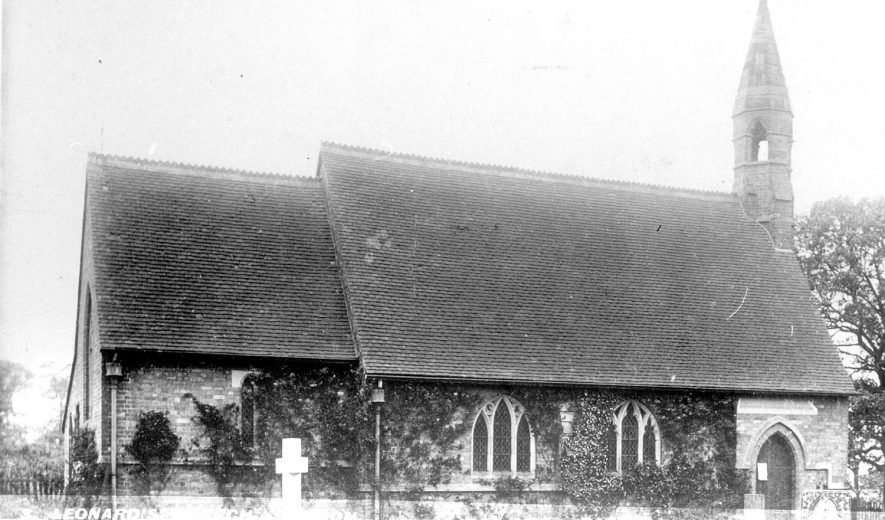 Exterior view of St Leonard's church at Dordon.  1900s |  IMAGE LOCATION: (Warwickshire County Record Office)