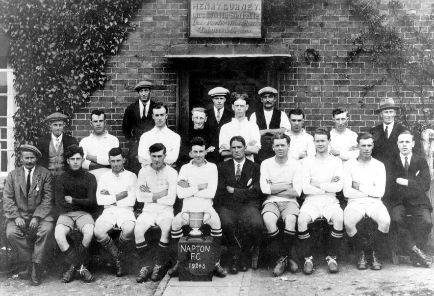 Napton Football Club, 1924-25. Group photograph outside the Crown.  1924/25