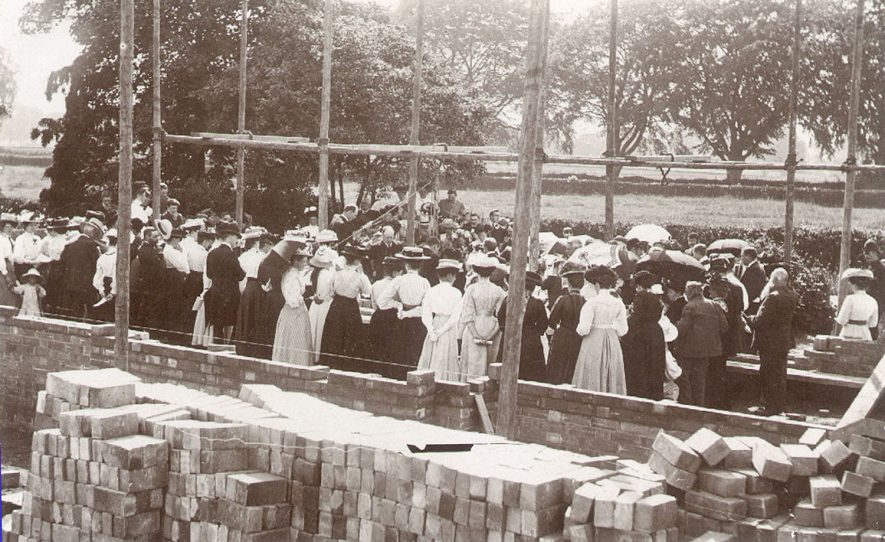 Foundation Stone laying of the schoolroom and hall at Dunnington, on July 8th 1909.  Dr. John Clifford opened the new hall on November 3rd 1909 |  IMAGE LOCATION: (Warwickshire County Record Office)