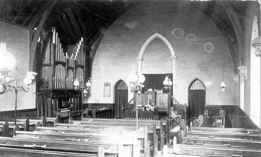 Dunnington, Baptist Chapel interior.  1900s |  IMAGE LOCATION: (Warwickshire County Record Office)