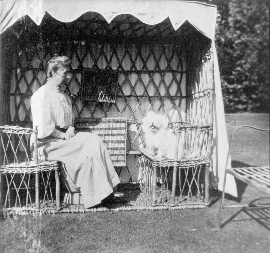 Summer shelter in the Rectory garden with lady and dog, Henley in Arden.  1900s |  IMAGE LOCATION: (Warwickshire County Record Office)
