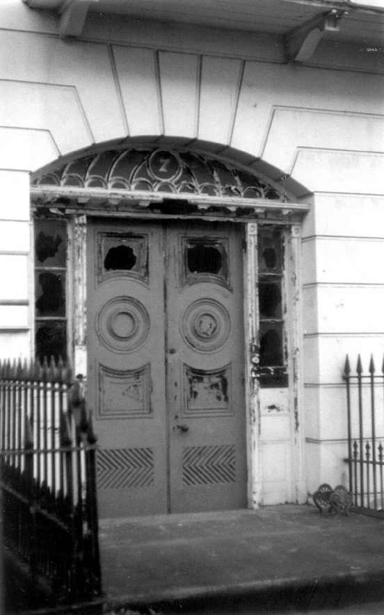 The entrance doors to No. 7, The Parade, Leamington Spa.  1989 |  IMAGE LOCATION: (Warwickshire County Record Office)