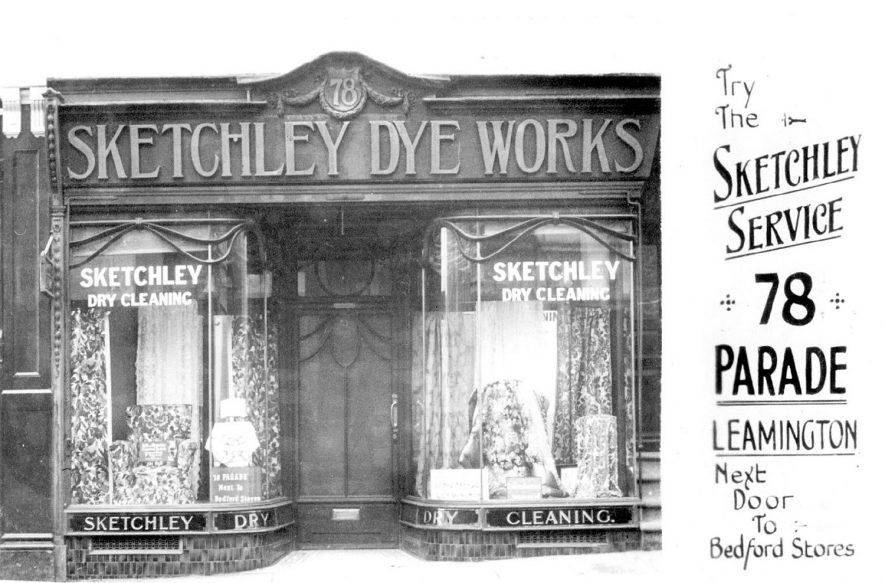 Sketchley's shop front, 78, The Parade, Leamington Spa.  1920s. |  IMAGE LOCATION: (Warwickshire County Record Office)