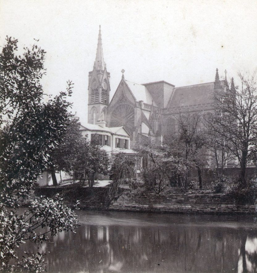 Leamington Spa parish church from Jephson Gardens.  1860s |  IMAGE LOCATION: (Warwickshire County Record Office)