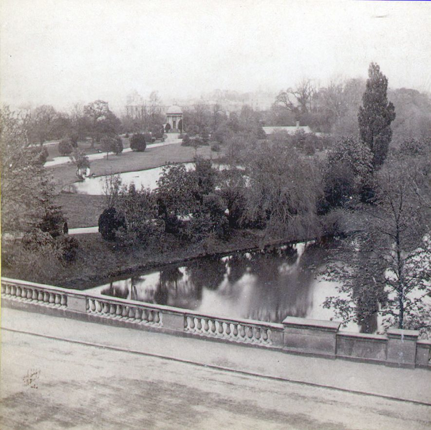 Jephson Gardens from Victoria Terrace, Leamington Spa.  1860s |  IMAGE LOCATION: (Warwickshire County Record Office)