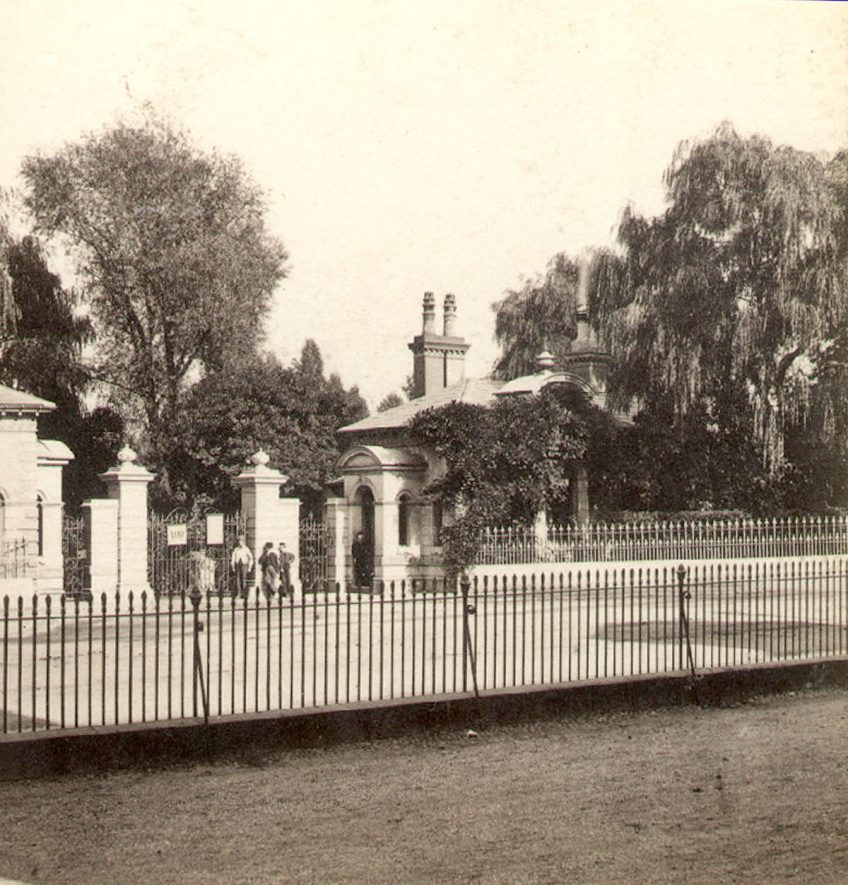 Gateway to Jephson gardens, Leamington Spa.  1860s |  IMAGE LOCATION: (Warwickshire County Record Office)