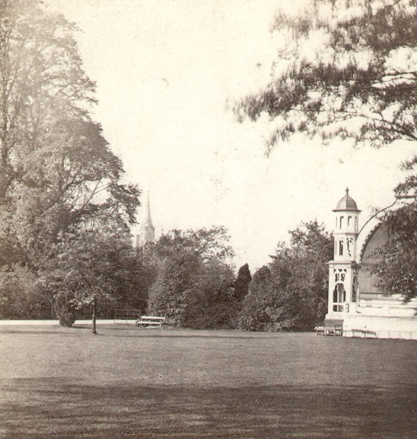 Jephson Gardens, Leamington Spa, showing part of bandstand.  1860s |  IMAGE LOCATION: (Warwickshire County Record Office)