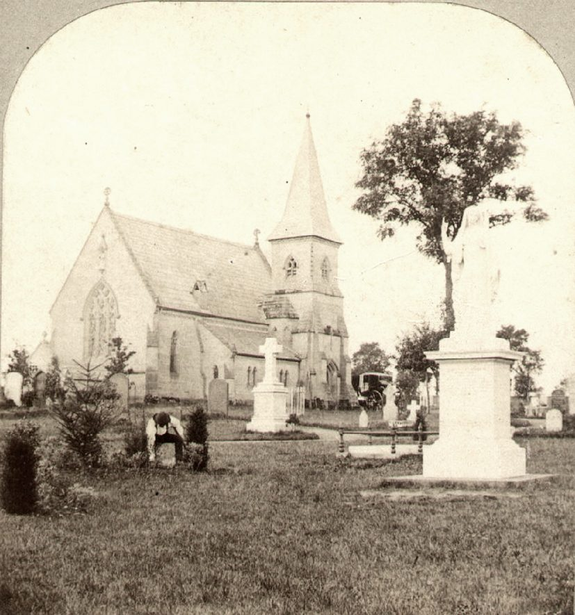 The cemetery chapel and graveyard, Brunswick Street, Leamington Spa.  1860s |  IMAGE LOCATION: (Warwickshire County Record Office)