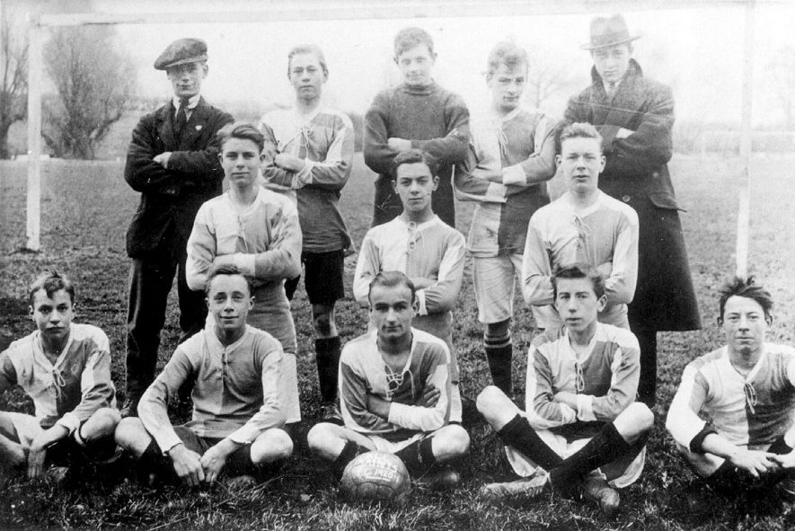 All Saint's football team, Leamington Spa.  Back row, right to left - Bugg, Tabor, Taylor, Lamb, Metcalf. Middle row - Daulman, Jones (Capt.), Aitken. Front row - Harris (vice-Capt.), Greenway, Badger, Gelfs and Francis.  1920/1 |  IMAGE LOCATION: (Warwickshire County Record Office) PEOPLE IN PHOTO: Taylor, Mr, Taylor as a surname, Tabor, Mr, Tabor as a surname, Metcalf, Mr, Metcalf as a surname, Lamb, Mr, Lamb as a surname, Jones, Mr, Jones as a surname, Harris, Mr, Harris as a surname, Greenway, Mr, Greenway as a surname, Gelfs, Mr, Gelfs as a surname, Francis, Mr, Francis as a surname, Daulman, Mr, Daulman as a surname, Bugg, Mr, Bugg as a surname, Badger, Mr, Badger as a surname, Aitken, Mr, Aitken as a surname