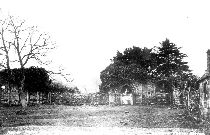 Merevale Abbey ruins with a faint outline of The Hall in the background.  1900s |  IMAGE LOCATION: (Warwickshire County Record Office)